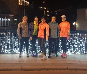 Women's running group running with lights March2019